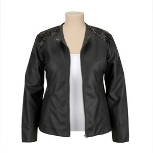Faux Leather Zip Jacket Sequins 4